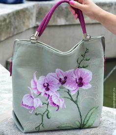 """Купить Льняная сумка """"Нежная орхидея"""" - розовый, сиреневый, сумка, сумка женская"""