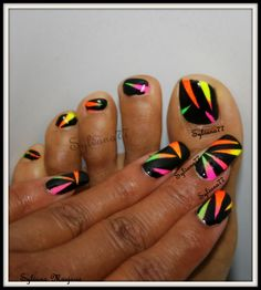 Black and neon tape manicure. Nails for summer