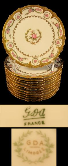 Limoges Rose Decorated Plates