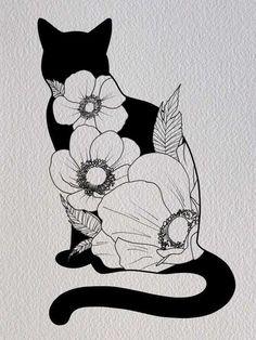 Cat and Flowers Illustration PRINT / digital art / digital drawing / art . Cat and Flowers Illustration PRINT / digital art / digital drawing / art print / cat / kitty / cat d - MEOW: CATalog ♡ / CAT-ART = ^>. Flowers Illustration, Illustration Blume, Illustration Art Drawing, Drawing Art, Kitty Drawing, Drawing Tips, Cat Illustrations, Cute Cat Drawing, Desenho Tattoo
