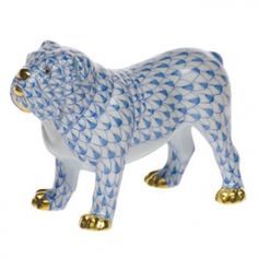 """Herend Hand Painted Porcelain Figurine """"Bulldog"""" Blue Fishnet Gold Accents."""