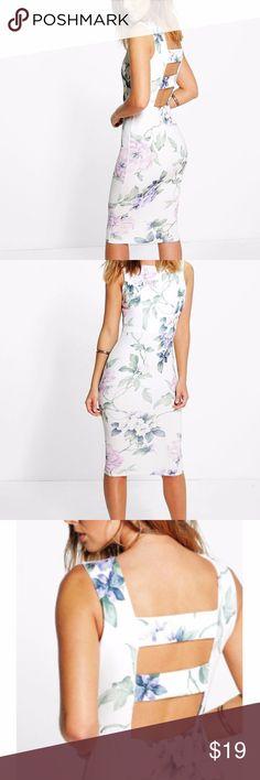 Floral Open Back Detail Midi Dress Textured bodycon midi dress with open back. Never worn. Dresses Midi