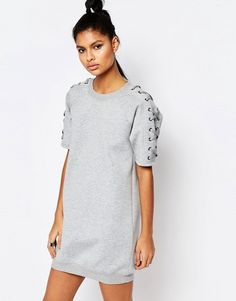 Story+Of+Lola+Oversized+Short+Sleeve+Sweat+Dress+In+Neoprene+With+Lace+Up+Detail $112