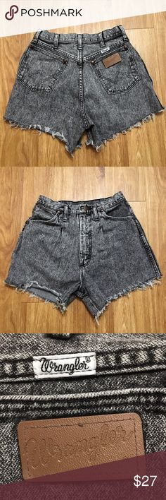 Vintage Wrangler high waist acid wash shorts EUC these are vintage, so the size is a little different. The tag says 11, but they fit more like a modern 3/4 or 27. Please refer to the measurements listed in the last picture of you have any questions about the size. Wrangler Shorts Jean Shorts