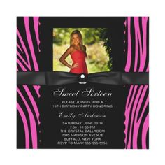 Hot Pink Zebra Photo Sweet 16 Party Invitations from Zazzle.com