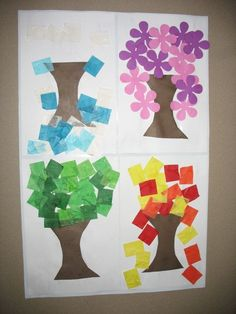 4 seasons - precut tree trunks so as not to overwhelm kids - decorate for each s. 4 seasons - precut tree trunks so as not to overwhelm kids - decorate for each season Seasons Activities, Preschool Activities, Kindergarten Science, Preschool Crafts, Seasons Kindergarten, Preschool Seasons, Preschool Weather, Art For Kids, Crafts For Kids