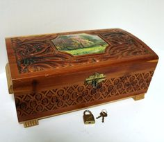 Vintage Wood Cedar Chest Box With Mirror Jewelry Trinket Storage With Lock