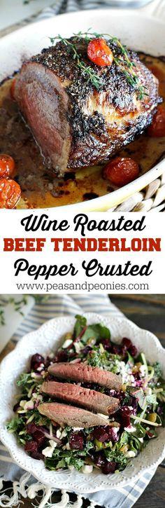 Garlic and Wine Roasted Beef Tenderloin with a peppery crust, is served with juicy roasted tomatoes and Eat Smart Beets & Greens Salad. #EatSmartVeggies @EatSmartVeggies