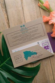 TRAVEL COLLECTION Portable Pocket Styled Invitation, destination wedding invitation, plane ticket wedding invitation