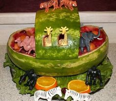 Noah's Ark Watermelon bowl/basket inspiration. Fruit salad. #Summer #recipe #treat. Baby shower idea -via Squidoo