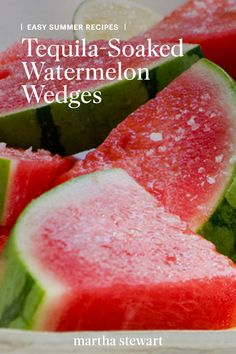 Treat yourself to a refreshing tequila-soaked watermelon wedge as a fun cocktail idea throughout this spring and summer season. See the full recipe for this easy fruit cocktail along with other summer recipes. Classic Cocktails, Fun Cocktails, Fun Drinks, Yummy Drinks, Cocktail Recipes, Disney Cocktails, Cocktail Ideas, Christmas Cocktails, Margarita Recipes