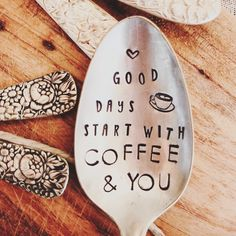 Gift For Him, Husband Gift, Coffee Stamped Spoon, Love Is, Morning Mantra, Coffee Spoon, Metal Stamping Stamped Teaspoon Vintage flatware by SweetThymeDesign on Etsy