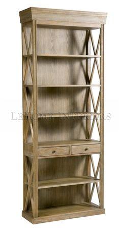Шкаф Riviere Cross Frame Bookcase. Открытый книжный шкаф с 2-мя выдвижными ящиками, боковые панели декорированы пересекающимися направляющими. Каркас массив дуба.