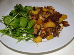 Gourmandises végétariennes: Pilzgröstl mit Salaaat