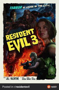 Carlos Resident Evil, Resident Evil Video Game, Resident Evil Franchise, Resident Evil 3 Remake, Horror Movie Posters, Horror Movies, Good Cartoons, Evil Art, Jill Valentine