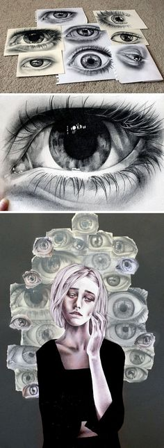 This is a personal piece that Kate created while at high school. It expresses the inner critic; the eyes of judgment and ever self-conscious brain observing 'every tiny awkward thing I do wrong'. Realistic Eye Drawing, Drawing Eyes, Observational Drawing, A Level Art, Wow Art, Gcse Art, Art Graphique, Art Plastique, Art Sketchbook