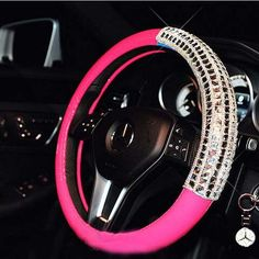 Crystal Steering Wheel Cover Leather Candy Color Car Steering Covers Pink For Girls