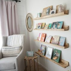 How we created custom book ledges for our nursery at a fraction of the cost of store bought.