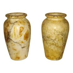 Image of Antique Italian Alabaster Vases - Pair