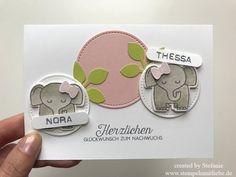 Stampin Up - Karte - Card - Zwillinge - Karte zur Geburt - Birth - Rosa - Limette - Tierische Glückwünsche♥ StempelnmitLiebe