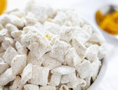 Orange Creamsicle Puppy Chow (aka Muddie Buddies) is a super fun citrus twist on a classic! Sweet vanilla and orange flavor mean you get your favorite ice cream treat in the hand-held form! White Chocolate Candy, Chocolate Candy Melts, Chocolate Morsels, Puppy Chow Recipes, Chex Mix Recipes, Snack Recipes, Orange Creamsicle, Orange Zest, No Bake Snacks