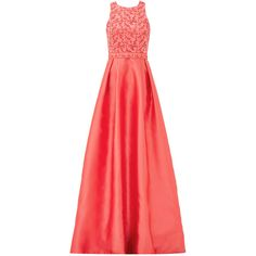 Rental ML Monique Lhuillier Coral Wave Gown ($125) ❤ liked on Polyvore featuring dresses, gowns, pink, red evening dresses, red gown, pink evening gowns, sleeveless gown and pink dress