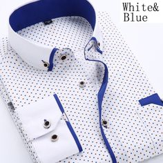 Wish | Men Shirts Long Sleeve Male Business Casual Printed Fashion Formal Shirts Size S-4XL