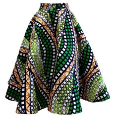 Ivie African Print Midi Circle Skirt (Green/White/Gold) Source by heleejames Short African Dresses, African Fashion Designers, African Inspired Fashion, Latest African Fashion Dresses, African Print Fashion, African Print Skirt, African Print Clothing, African Print Dresses, African Prints