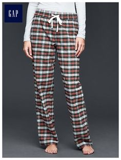 Flannel plaid roll-up pants