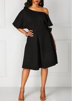 Black Off the Shoulder Dolman Sleeve A Line Dress