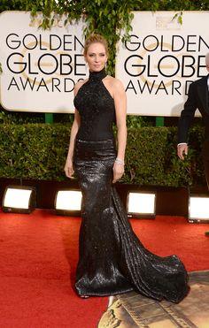 Uma Thurman. Favorite Golden Globe red carpet looks.