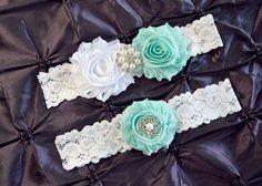 Wedding Garter Set Bridal Garter Set White by SweetEleganceBridal