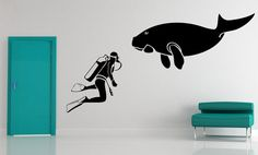Scuba Diver and Dugong   Decal Sticker Vinyl by VinylWallAccents, $69.00