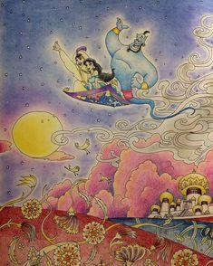 ・ ・ 右ページ アップ ・ アラジン観たくなってきた♡ ・ ・ 連投失礼しました! たまに塗るディズニー、 とっても楽しい! ・ ・ #旅するディズニー塗り絵 #アラジン #コロリアージュ #大人の塗り絵 #油性色鉛筆 #パステル #coloriage #coloringbook #ディズニー_おこめつぶ