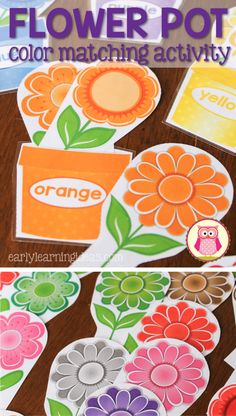 Teach colors plus many math activities with flower color matching set.  Kids can place flowers inside the flower pot.  They can sort by color or style plus work on counting, comparing quantities, patterning, etc....  Perfect hands-on spring themed activity for totschool, preschool, or pre-k.