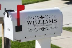 """need some curb appeal? try these stylish mailbox decals. ---> Or a large cursive monogram style """"F""""with the address so the last name isn't on the mailbox. Mailbox Numbers, House Numbers, Vinyl Projects, Home Projects, Weekend Projects, Vinyl Wall Art, Vinyl Decals, Vinyl Board, Wall Sticker"""