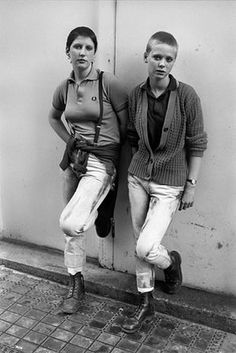 Two skinhead girls photographed on a Bank Holiday in Brighton (this is the image later used by Morrissey on the 'You Arsenal' tour).