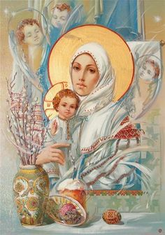 Ukrainian Theotokos by Okhapkin Alexander Pictures Of Mary, Images Of Mary, Blessed Mother Mary, Blessed Virgin Mary, Religious Icons, Religious Art, Queen Of Heaven, Mama Mary, Les Religions