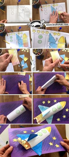 This has to be the coolest summer craft for kids to make - print the shark puppet template and make Space Crafts For Kids, Summer Crafts For Kids, Crafts For Kids To Make, Preschool Rocket, Rocket Craft, Paper Folding For Kids, Paper Folding Crafts, Paper Craft, Kindergarten Crafts