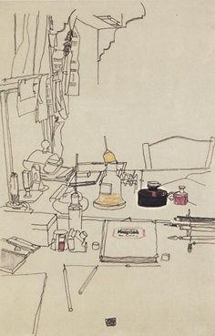 """Egon Schiele, """"Desktop in the prisoner of war camp in Mühling"""", 1916"""
