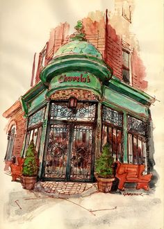 Stephen Gardner. Urban Sketchers. Franklin Ave. Brooklyn