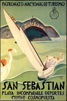 San Sebastian Vintage Poster - Europe by Lantern Press Metal Prints Metal Print - 30 x 41 cm