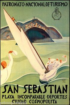 San Sebastian Spain Sailboat Travel Tourism Repr Poster | eBay