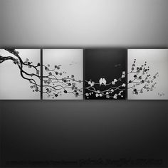 Original Modern Asian Tree Blossom Birds Painting Art by Catalin, $249.00