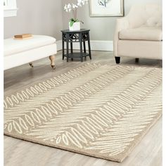 Martha Stewart by Safavieh Chevron Leaves Chamois Beige Wool/ Viscose Rug x Brown, Size x Hand Tufted Rugs, Indoor Rugs, Contemporary Rugs, Online Home Decor Stores, Beige Area Rugs, Martha Stewart, Rug Size, Home Furnishings, Living Spaces