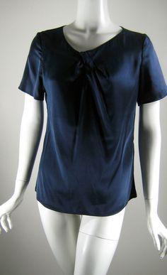 PAUW AMSTERDAM Navy Blue Stretch Silk Short Sleeve Twist Front Blouse Size 2 (8) #Pauw #Blouse
