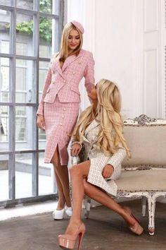 Женский твидовый костюм с длинной юбкой