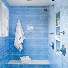 Blue Glass Subway Tile This watery blue tile bathroom by Matthew Gleason is so happy. :)This watery blue tile bathroom by Matthew Gleason is so happy. Blue Glass Tile, Glass Subway Tile, Blue Tiles, Glass Tiles, Glass Tile Bathroom, Bird Bathroom, Blue Subway Tile, Bathroom Small, Relaxing Bathroom