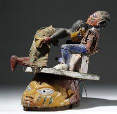 Mid 20th C. African Wood Erotic Puppet Helmet Mask : Lot 0136