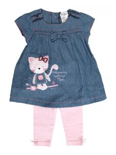 This baby girls' cat denim dress & leggings set is super cute for spring! Baby Girl Frocks, Kids Frocks, Frocks For Girls, Baby Girl Dresses, Baby Dress, Carters Baby Girl, My Baby Girl, Baby Girls, Girly Outfits
